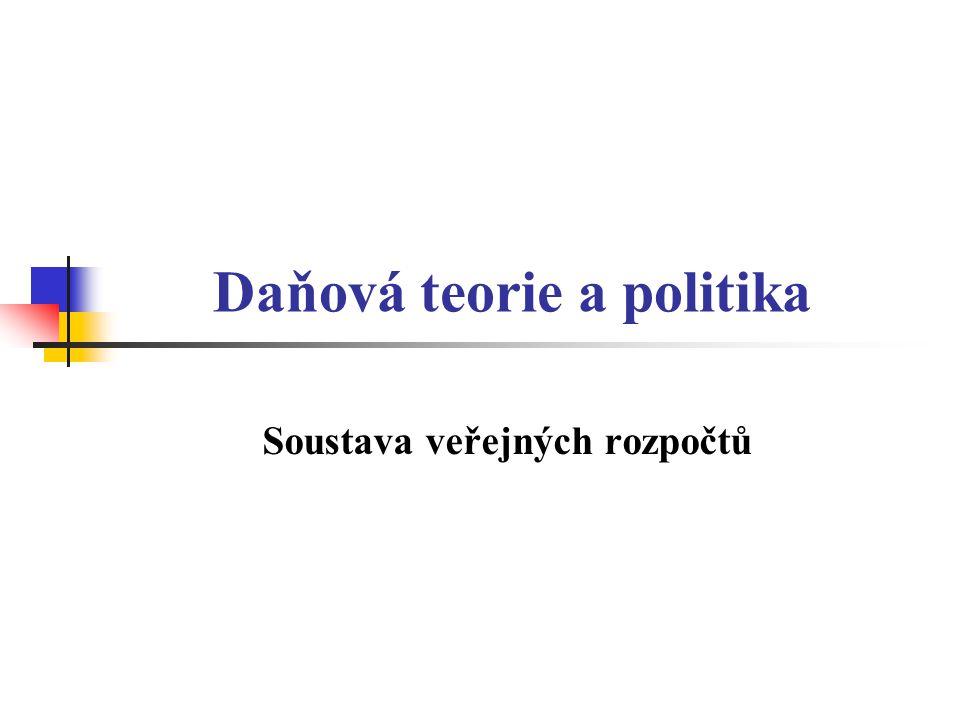Daňová teorie a politika Soustava veřejných rozpočtů