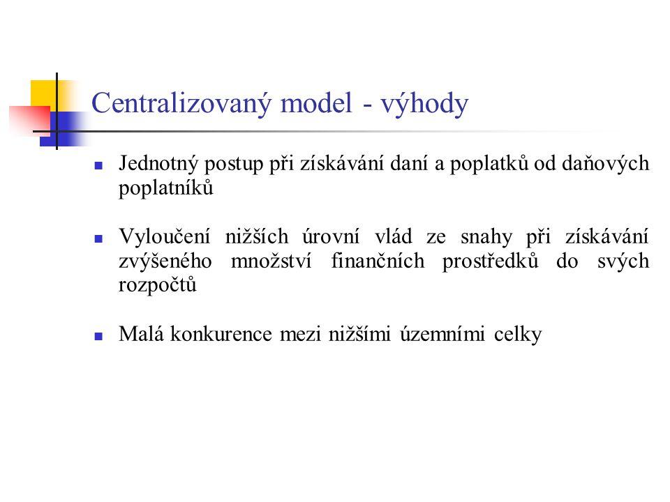 Centralizovaný model - výhody Jednotný postup při získávání daní a poplatků od daňových poplatníků Vyloučení nižších úrovní vlád ze snahy při získáván