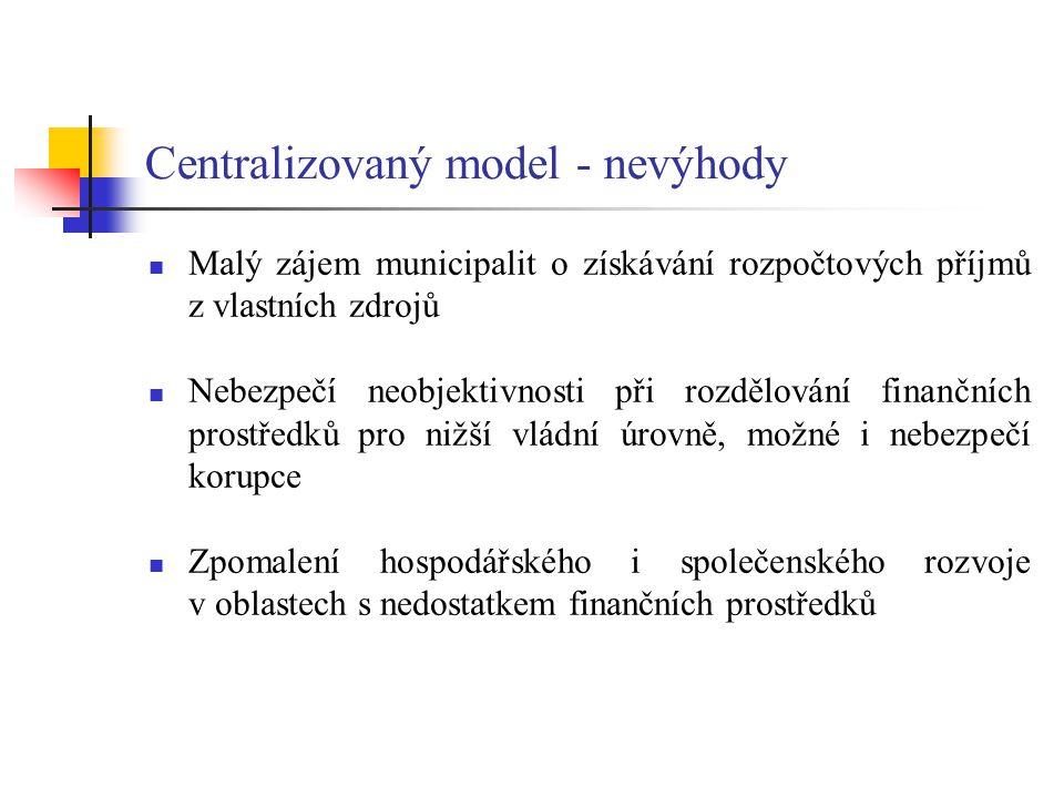 Centralizovaný model - nevýhody Malý zájem municipalit o získávání rozpočtových příjmů z vlastních zdrojů Nebezpečí neobjektivnosti při rozdělování fi