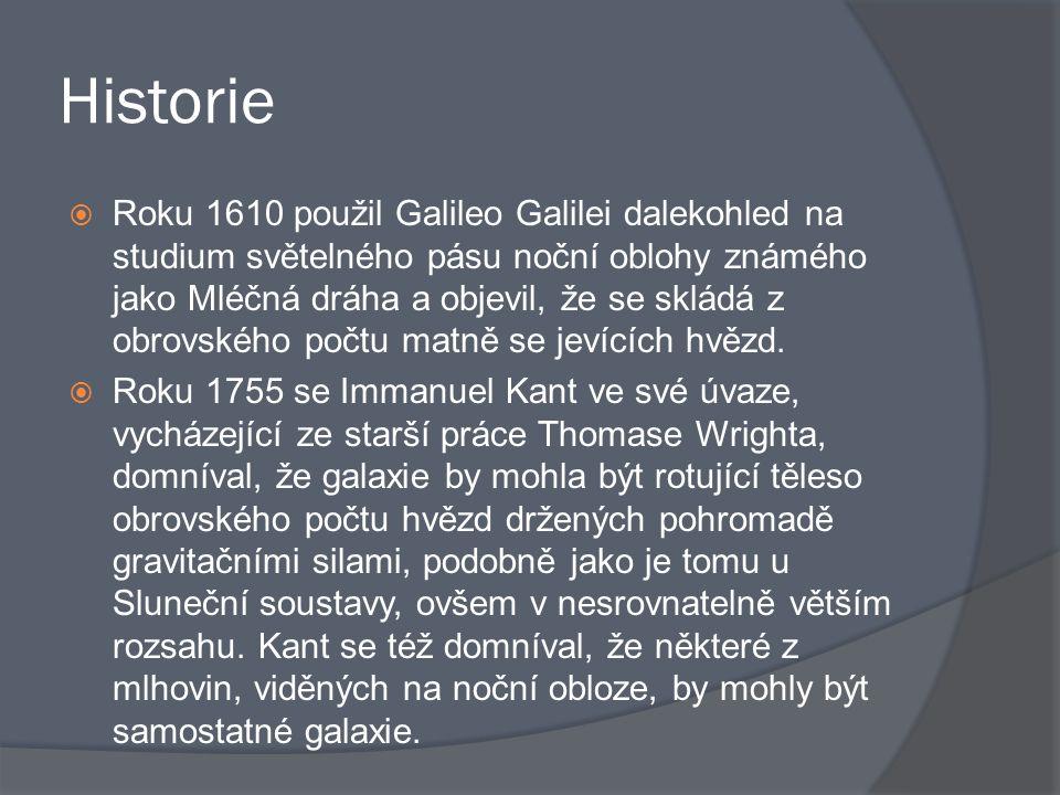 Historie  Roku 1610 použil Galileo Galilei dalekohled na studium světelného pásu noční oblohy známého jako Mléčná dráha a objevil, že se skládá z obr