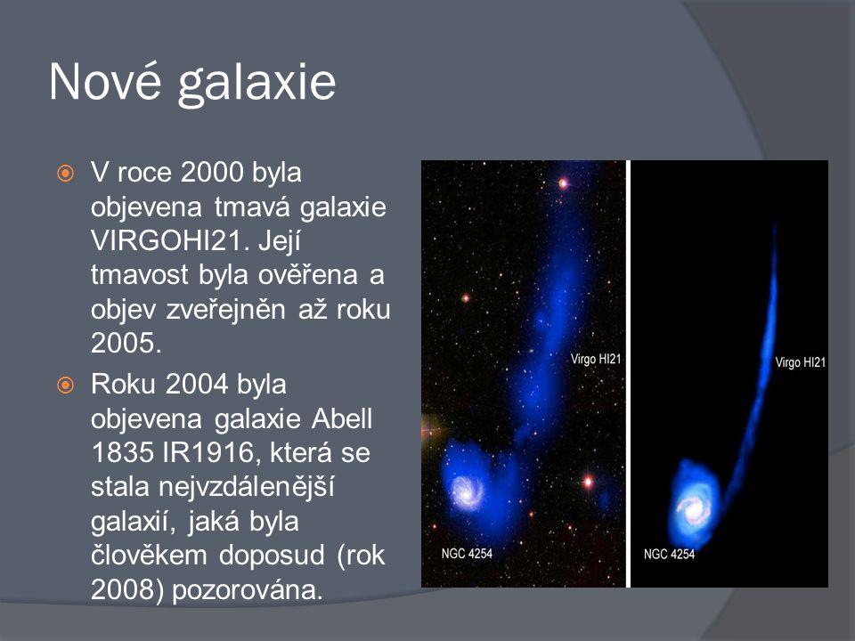 Nové galaxie  V roce 2000 byla objevena tmavá galaxie VIRGOHI21. Její tmavost byla ověřena a objev zveřejněn až roku 2005.  Roku 2004 byla objevena