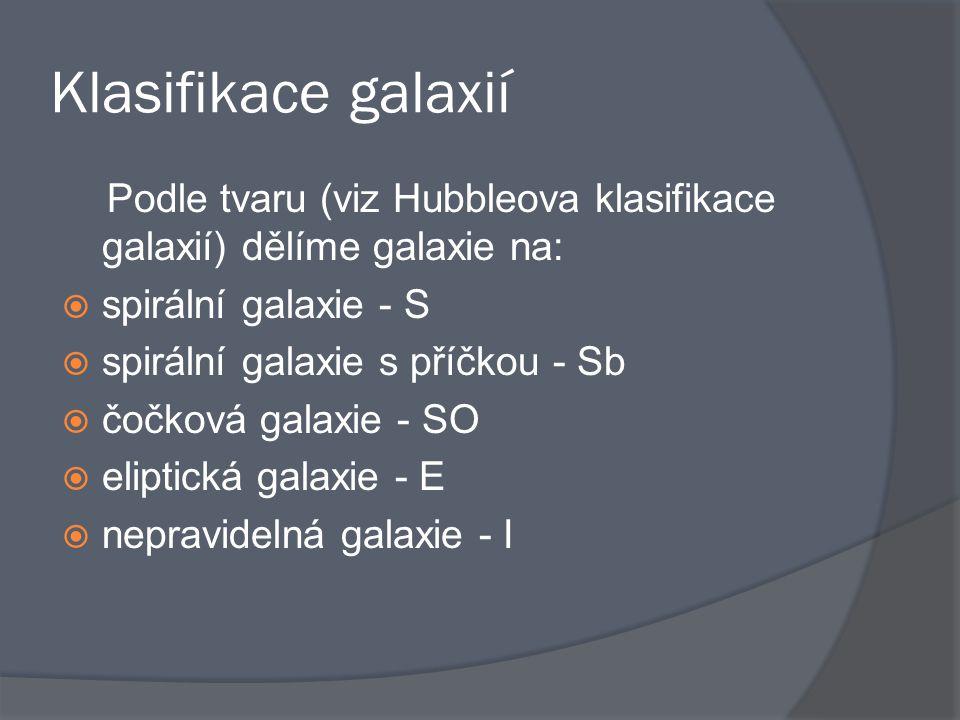 Klasifikace galaxií Podle tvaru (viz Hubbleova klasifikace galaxií) dělíme galaxie na:  spirální galaxie - S  spirální galaxie s příčkou - Sb  čočk