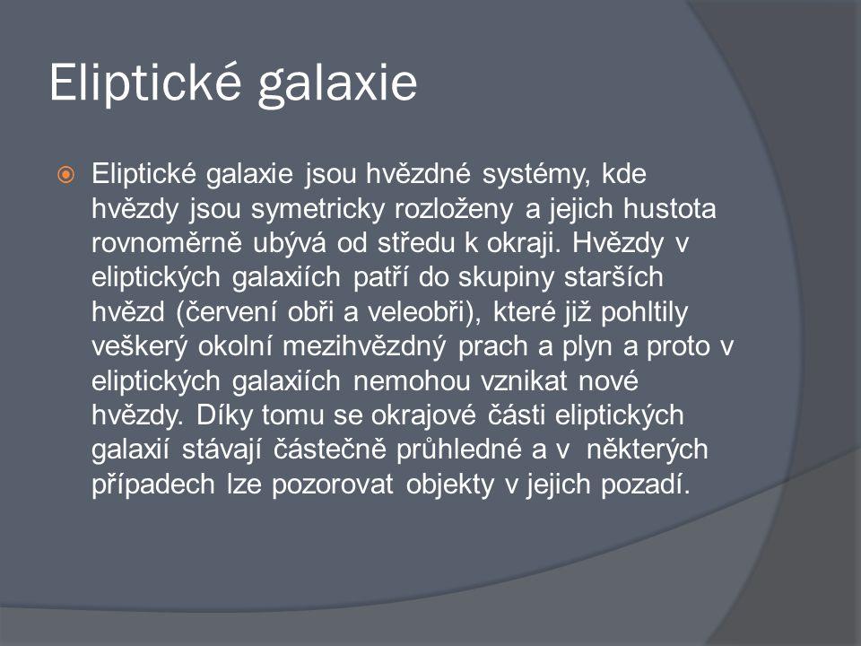 Eliptické galaxie  Eliptické galaxie jsou hvězdné systémy, kde hvězdy jsou symetricky rozloženy a jejich hustota rovnoměrně ubývá od středu k okraji.