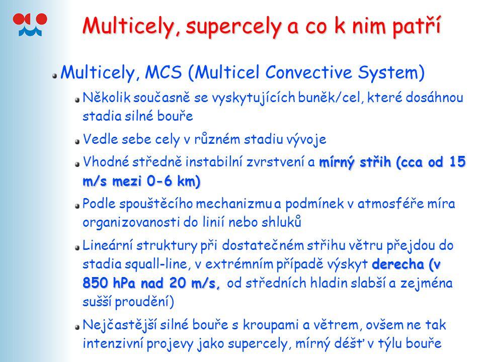 Multicely, supercely a co k nim patří Multicely, MCS (Multicel Convective System) Několik současně se vyskytujících buněk/cel, které dosáhnou stadia s