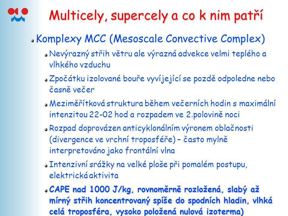 Multicely, supercely a co k nim patří Komplexy MCC (Mesoscale Convective Complex) Nevýrazný střih větru ale výrazná advekce velmi teplého a vlhkého vz