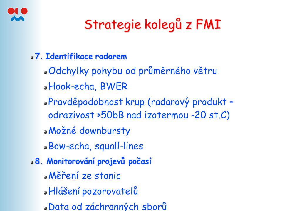 Strategie kolegů z FMI 7.Identifikace radarem 7. Identifikace radarem Odchylky pohybu od průměrného větru Hook-echa, BWER Pravděpodobnost krup (radaro