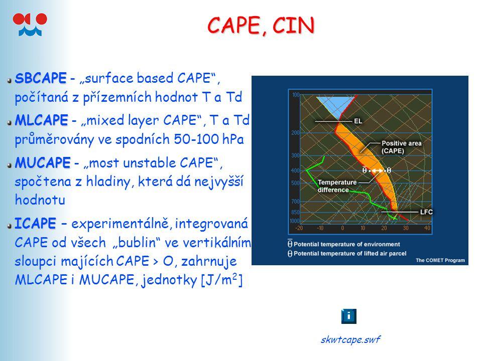 """CAPE, CIN SBCAPE SBCAPE - """"surface based CAPE"""", počítaná z přízemních hodnot T a Td MLCAPE MLCAPE - """"mixed layer CAPE"""", T a Td průměrovány ve spodních"""