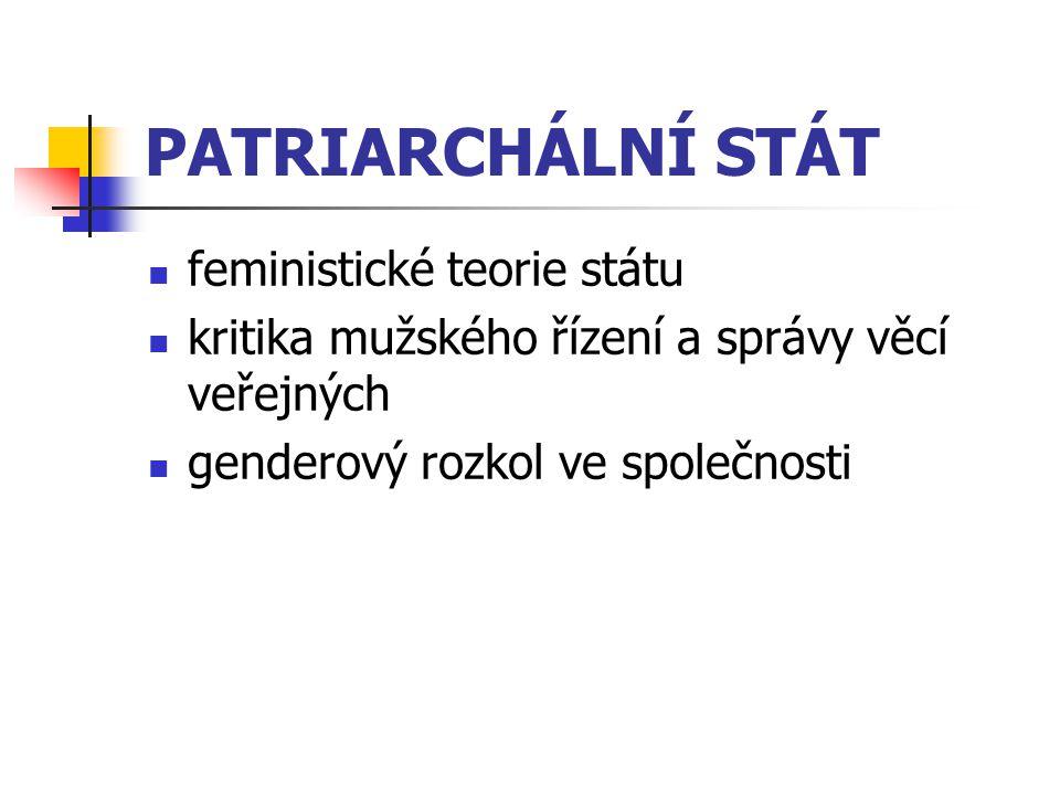 PATRIARCHÁLNÍ STÁT feministické teorie státu kritika mužského řízení a správy věcí veřejných genderový rozkol ve společnosti
