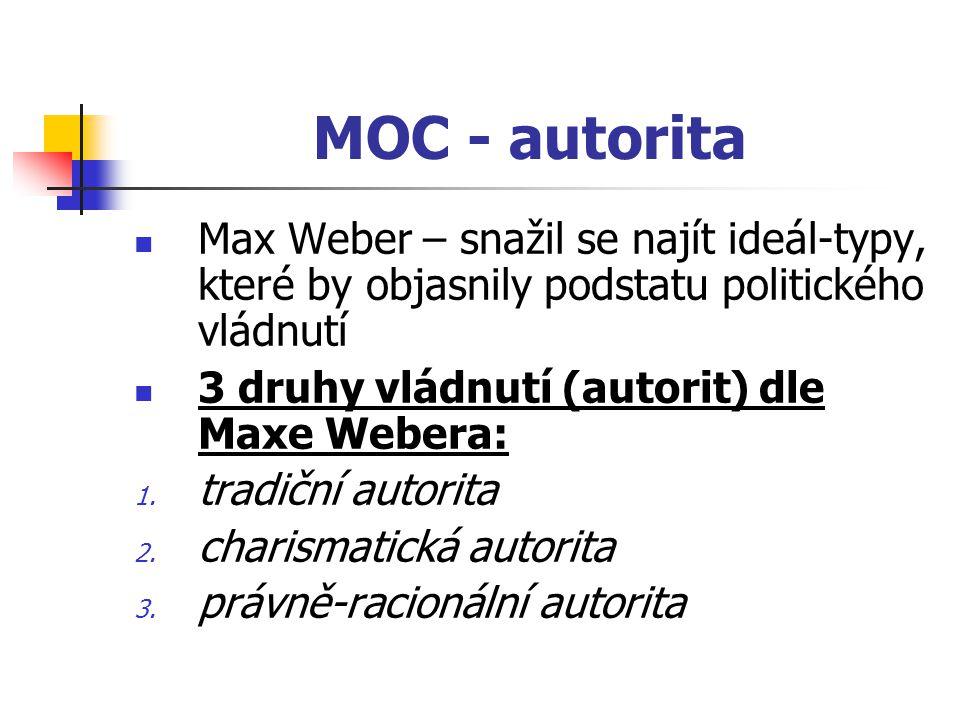 MOC - autorita Max Weber – snažil se najít ideál-typy, které by objasnily podstatu politického vládnutí 3 druhy vládnutí (autorit) dle Maxe Webera: 1.