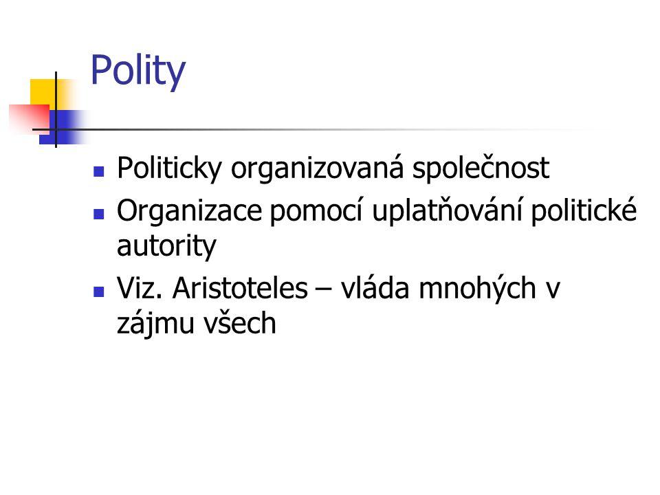 Polity Politicky organizovaná společnost Organizace pomocí uplatňování politické autority Viz. Aristoteles – vláda mnohých v zájmu všech