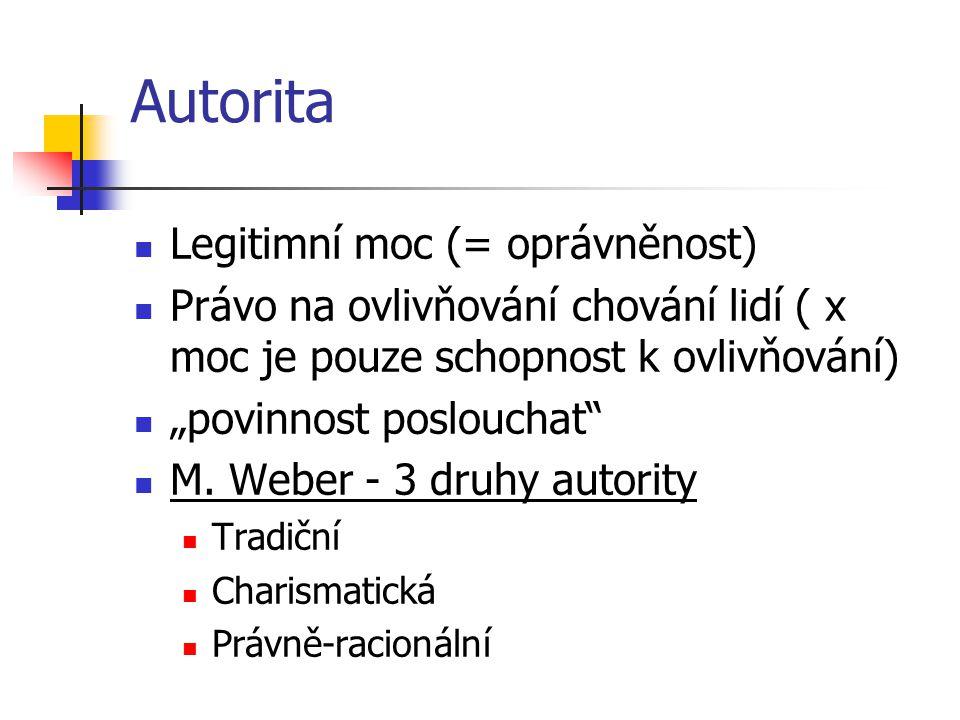 """Autorita Legitimní moc (= oprávněnost) Právo na ovlivňování chování lidí ( x moc je pouze schopnost k ovlivňování) """"povinnost poslouchat"""" M. Weber - 3"""