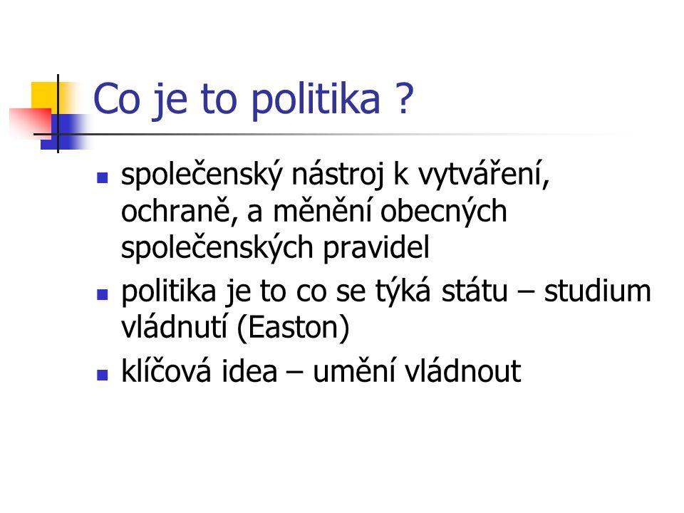 Co je to politika ? společenský nástroj k vytváření, ochraně, a měnění obecných společenských pravidel politika je to co se týká státu – studium vládn
