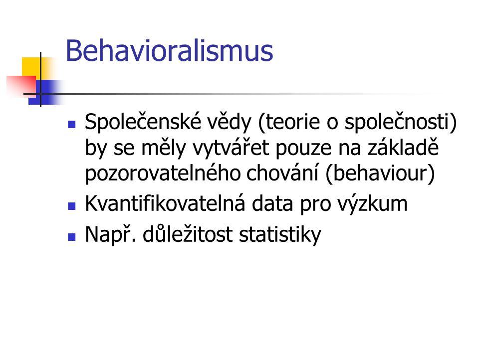 Behavioralismus Společenské vědy (teorie o společnosti) by se měly vytvářet pouze na základě pozorovatelného chování (behaviour) Kvantifikovatelná dat