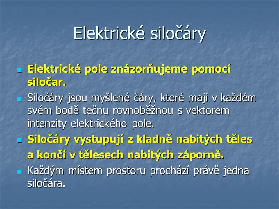 Elektrické siločáry Elektrické pole znázorňujeme pomocí siločar. Elektrické pole znázorňujeme pomocí siločar. Siločáry jsou myšlené čáry, které mají v