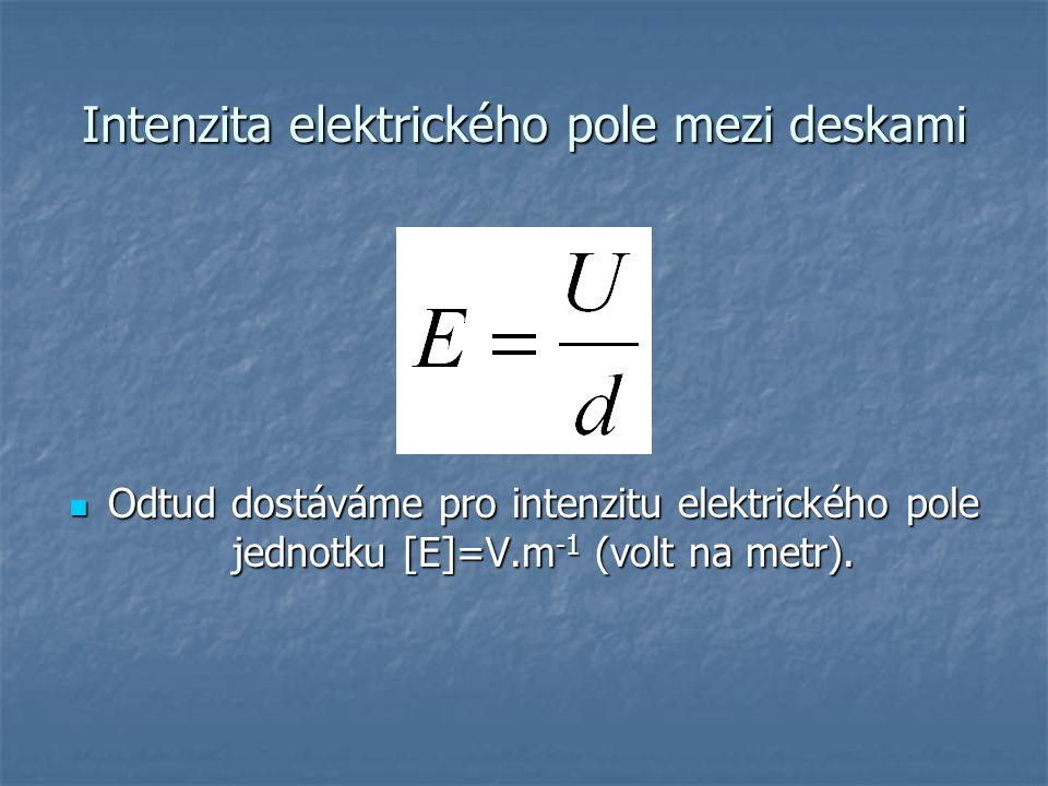 Intenzita elektrického pole mezi deskami Odtud dostáváme pro intenzitu elektrického pole jednotku [E]=V.m -1 (volt na metr). Odtud dostáváme pro inten