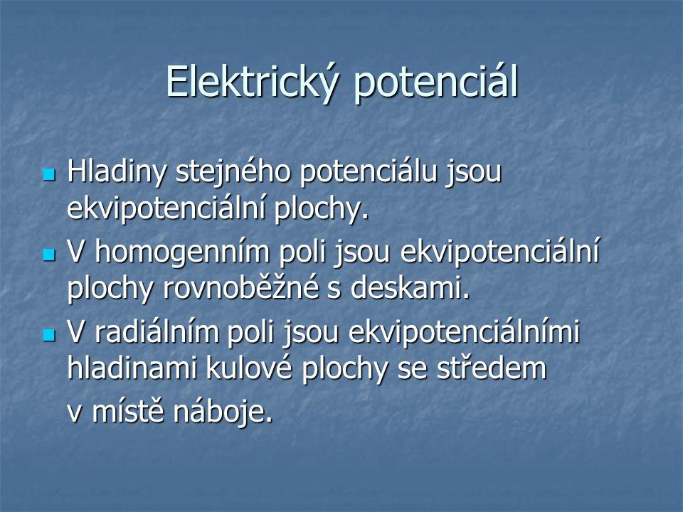 Elektrický potenciál Hladiny stejného potenciálu jsou ekvipotenciální plochy. Hladiny stejného potenciálu jsou ekvipotenciální plochy. V homogenním po