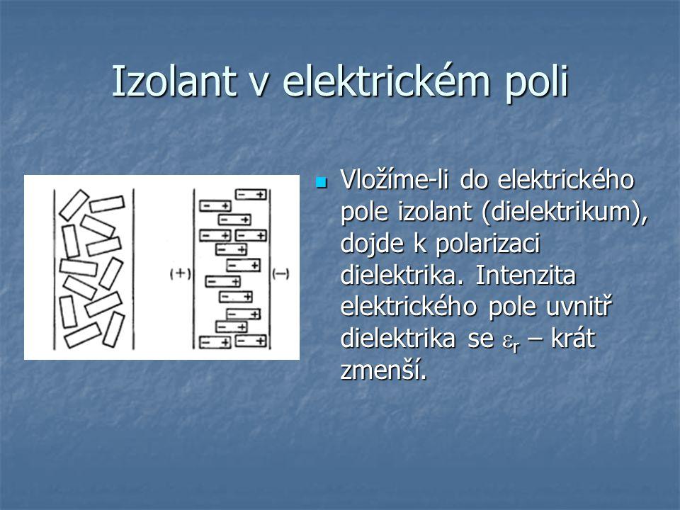 Izolant v elektrickém poli Vložíme-li do elektrického pole izolant (dielektrikum), dojde k polarizaci dielektrika. Intenzita elektrického pole uvnitř