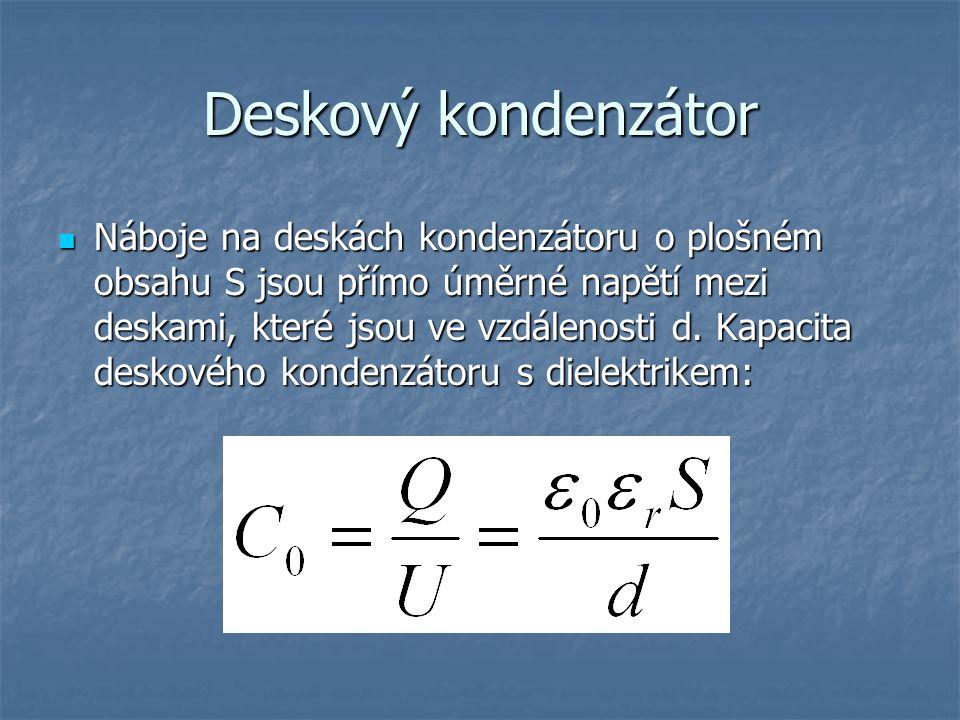 Deskový kondenzátor Náboje na deskách kondenzátoru o plošném obsahu S jsou přímo úměrné napětí mezi deskami, které jsou ve vzdálenosti d. Kapacita des