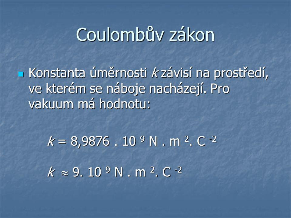 Coulombův zákon Konstanta úměrnosti k závisí na prostředí, ve kterém se náboje nacházejí. Pro vakuum má hodnotu: Konstanta úměrnosti k závisí na prost