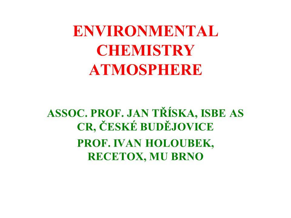 ENVIRONMENTAL CHEMISTRY ATMOSPHERE ASSOC. PROF. JAN TŘÍSKA, ISBE AS CR, ČESKÉ BUDĚJOVICE PROF. IVAN HOLOUBEK, RECETOX, MU BRNO