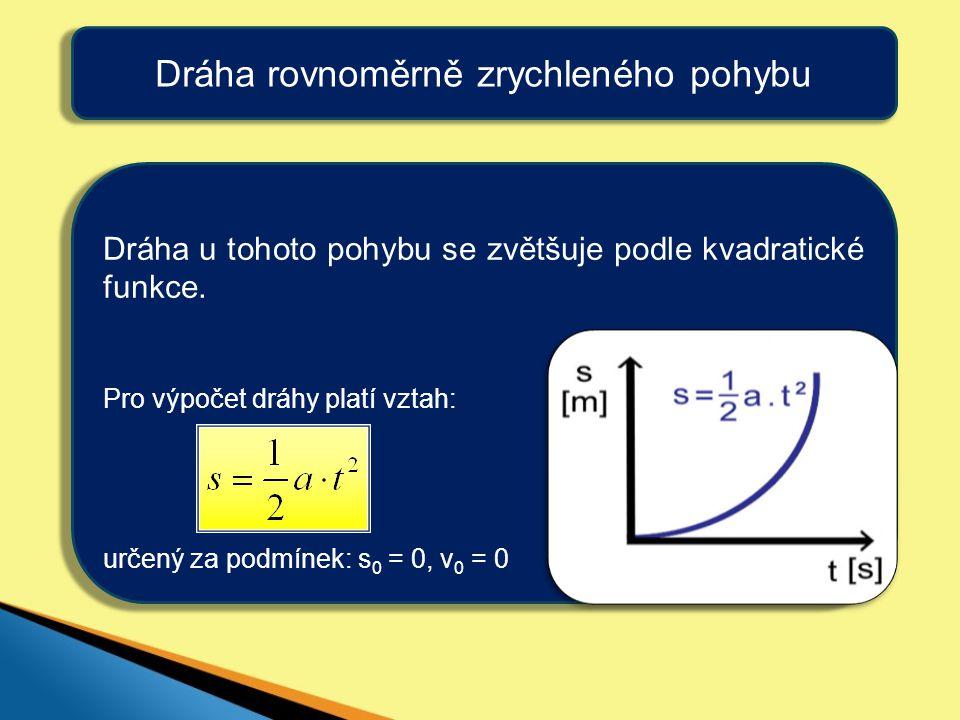 Dráha rovnoměrně zrychleného pohybu Dráha u tohoto pohybu se zvětšuje podle kvadratické funkce. Pro výpočet dráhy platí vztah: určený za podmínek: s 0