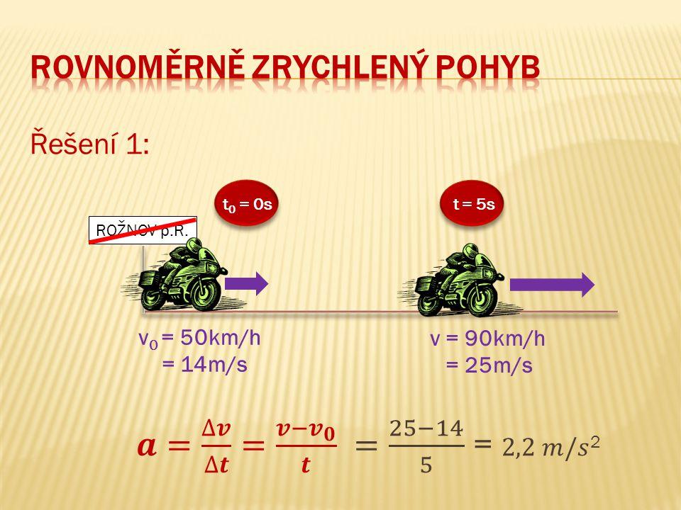Řešení 1: v 0 = 50km/h = 14m/s t = 5s v = 90km/h = 25m/s t 0 = 0s ROŽNOV p.R.