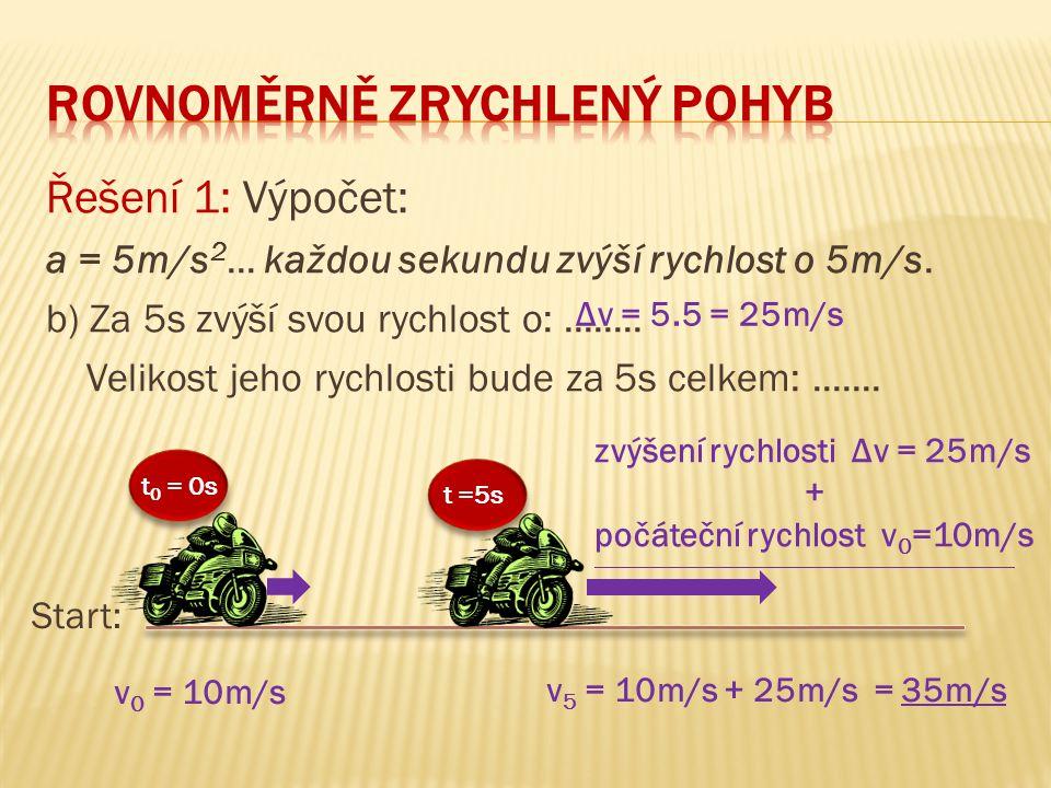 Řešení 1: Výpočet: a = 5m/s 2... každou sekundu zvýší rychlost o 5m/s. b) Za 5s zvýší svou rychlost o:........ Velikost jeho rychlosti bude za 5s celk