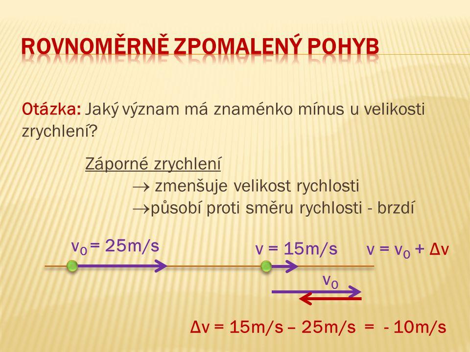 Řešení 3c) Graf dráhy: v 0 = 20m/s, a = - 4m/s 2 s = 20 ∙ t – ½ ∙ 4 ∙ t 2 50 40 30 20 10 0 1 2 3 4 5 t (s ) v (m/s ) okamžik zastavení dráha dále neroste