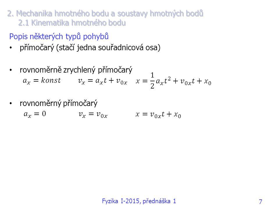 2. Mechanika hmotného bodu a soustavy hmotných bodů 2.1 Kinematika hmotného bodu Popis některých typů pohybů přímočarý (stačí jedna souřadnicová osa)