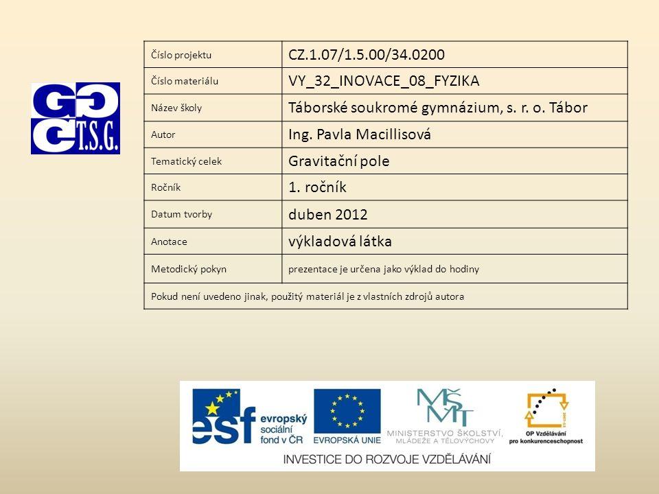 Číslo projektu CZ.1.07/1.5.00/34.0200 Číslo materiálu VY_32_INOVACE_08_FYZIKA Název školy Táborské soukromé gymnázium, s. r. o. Tábor Autor Ing. Pavla