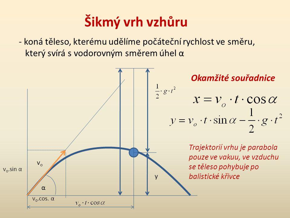 Šikmý vrh vzhůru - koná těleso, kterému udělíme počáteční rychlost ve směru, který svírá s vodorovným směrem úhel α α vovo v o.sin α v o.cos. α y Okam