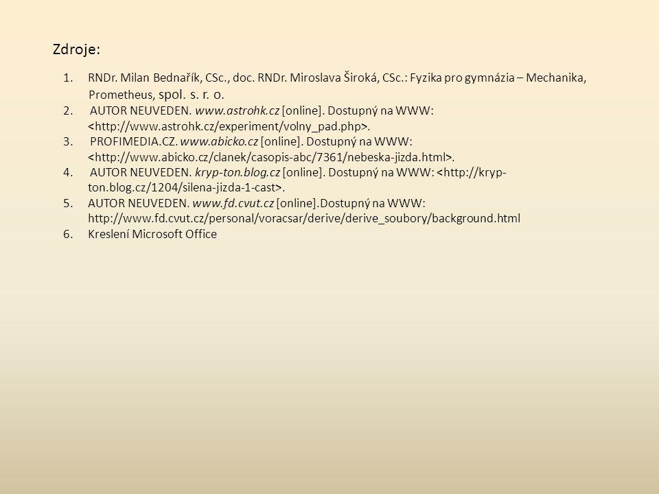 Zdroje: 1.RNDr. Milan Bednařík, CSc., doc. RNDr. Miroslava Široká, CSc.: Fyzika pro gymnázia – Mechanika, Prometheus, spol. s. r. o. 2. AUTOR NEUVEDEN
