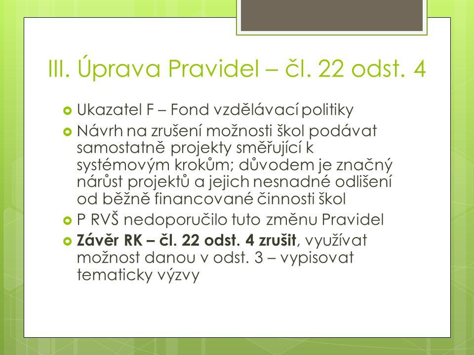 III. Úprava Pravidel – čl. 22 odst.