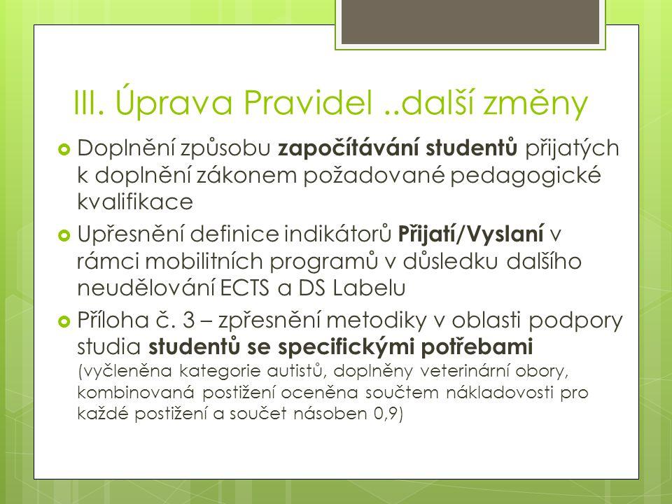 III. Úprava Pravidel..další změny  Doplnění způsobu započítávání studentů přijatých k doplnění zákonem požadované pedagogické kvalifikace  Upřesnění