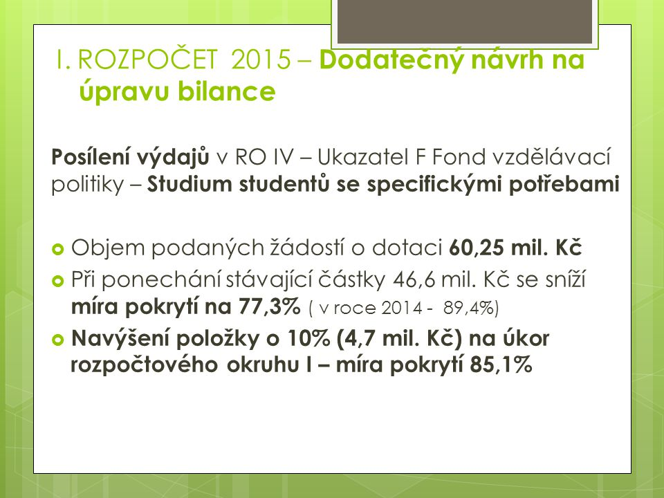 I. ROZPOČET 2015 – Dodatečný návrh na úpravu bilance Posílení výdajů v RO IV – Ukazatel F Fond vzdělávací politiky – Studium studentů se specifickými
