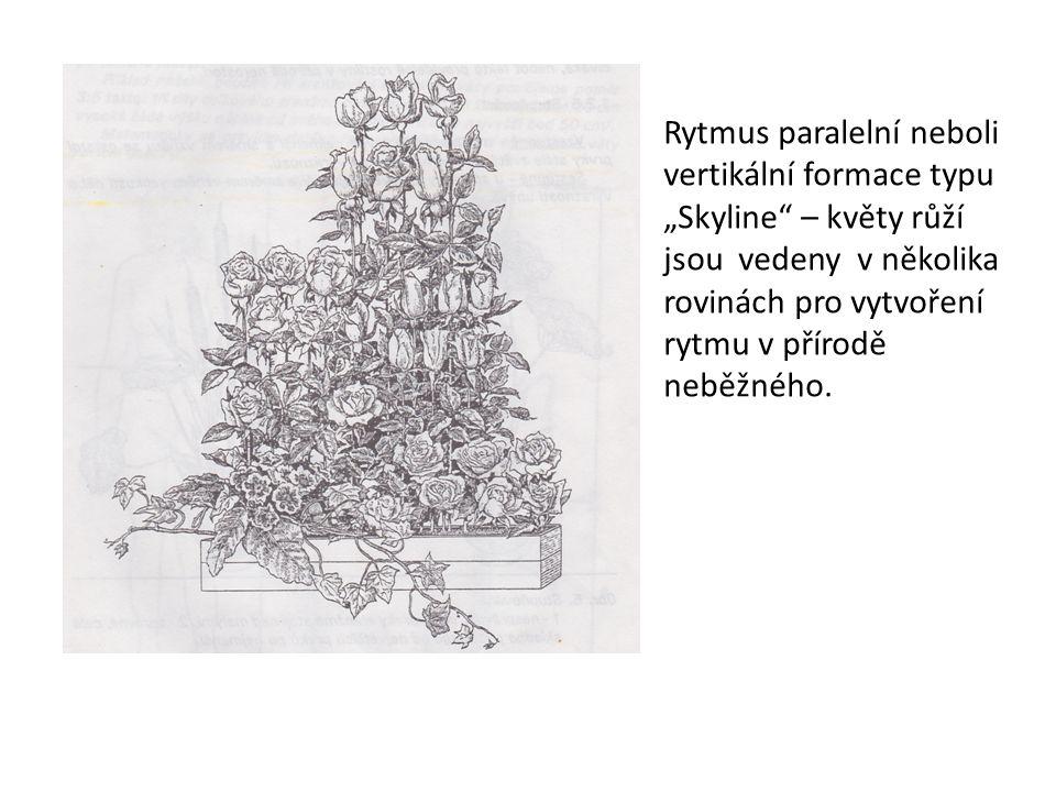 """Rytmus paralelní neboli vertikální formace typu """"Skyline"""" – květy růží jsou vedeny v několika rovinách pro vytvoření rytmu v přírodě neběžného."""
