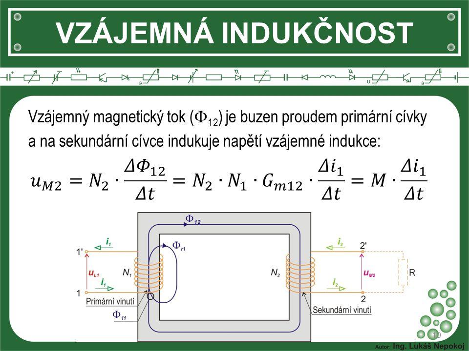 VZÁJEMNÁ INDUKČNOST 10 Vzájemný magnetický tok (  12 ) je buzen proudem primární cívky a na sekundární cívce indukuje napětí vzájemné indukce: