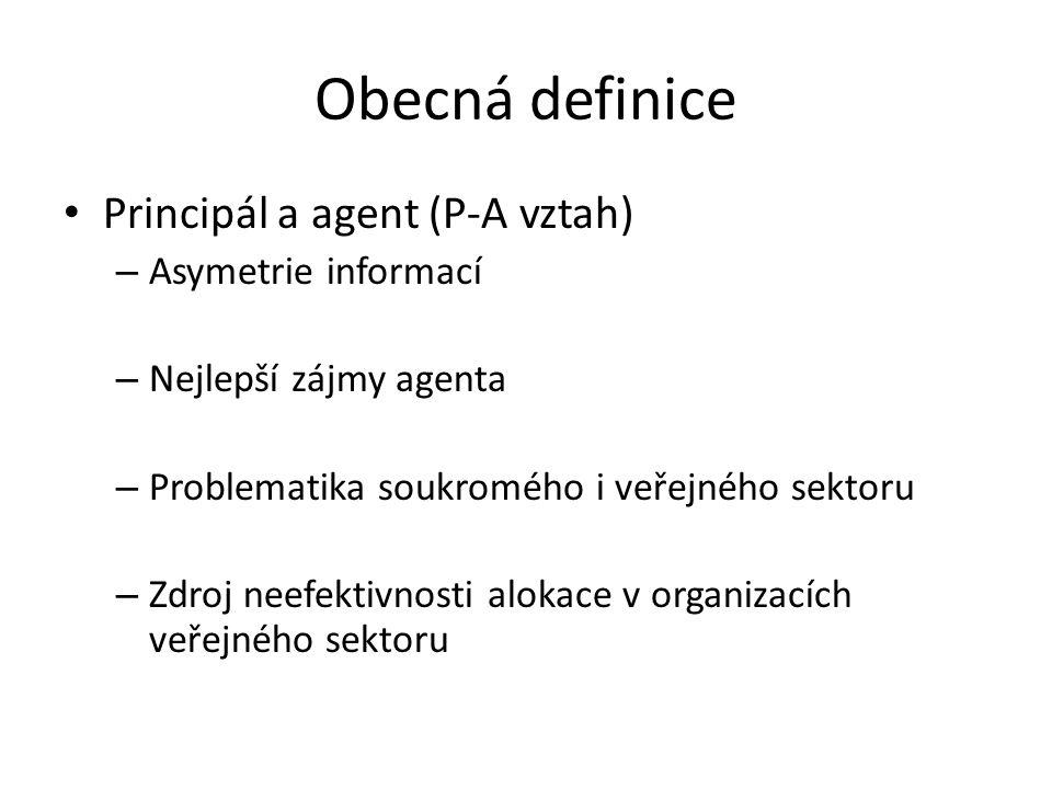 Obecná definice Principál a agent (P-A vztah) – Asymetrie informací – Nejlepší zájmy agenta – Problematika soukromého i veřejného sektoru – Zdroj neef