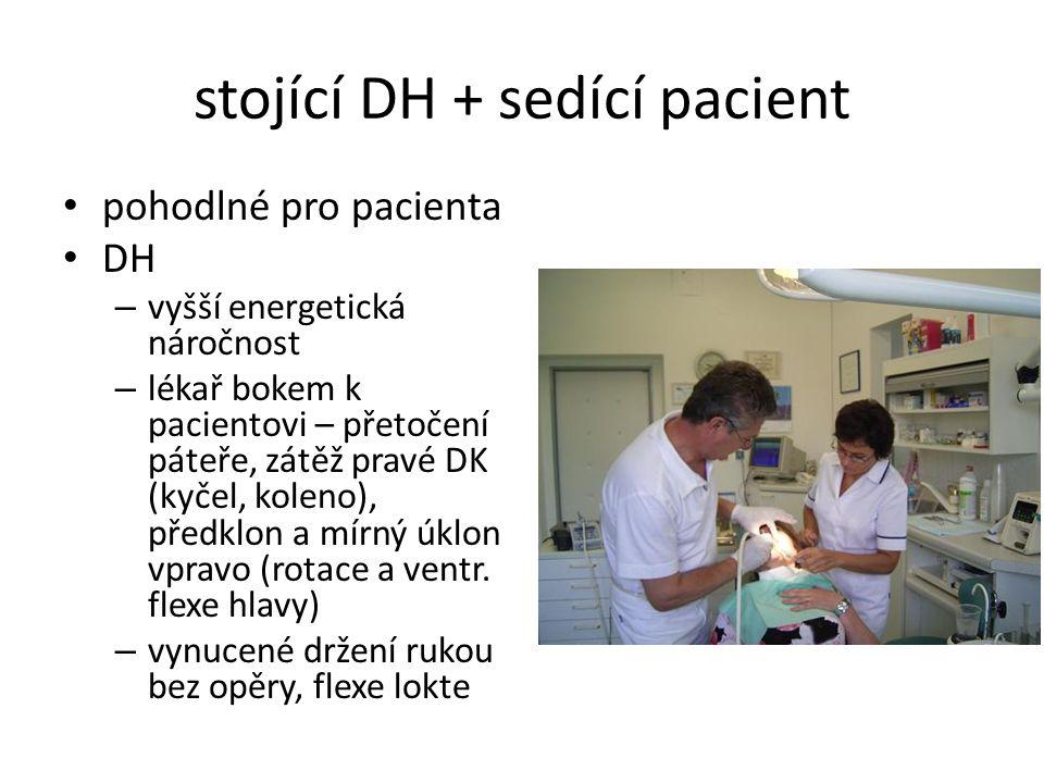 stojící DH + sedící pacient pohodlné pro pacienta DH – vyšší energetická náročnost – lékař bokem k pacientovi – přetočení páteře, zátěž pravé DK (kyče
