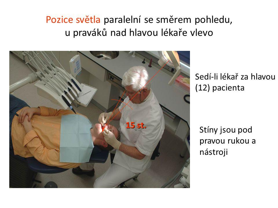Pozice světla paralelní se směrem pohledu, u praváků nad hlavou lékaře vlevo 15 st. Stíny jsou pod pravou rukou a nástroji Sedí-li lékař za hlavou (12