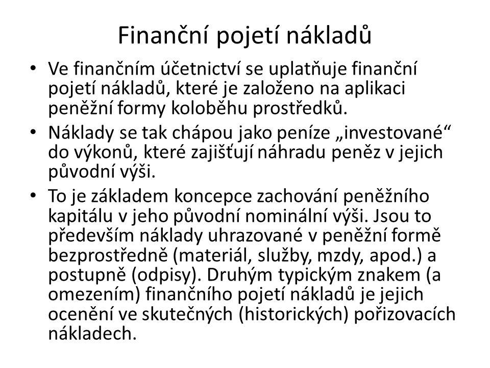 Finanční pojetí nákladů Ve finančním účetnictví se uplatňuje finanční pojetí nákladů, které je založeno na aplikaci peněžní formy koloběhu prostředků.