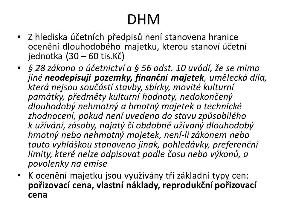 DHM Z hlediska účetních předpisů není stanovena hranice ocenění dlouhodobého majetku, kterou stanoví účetní jednotka (30 – 60 tis.Kč) § 28 zákona o úč