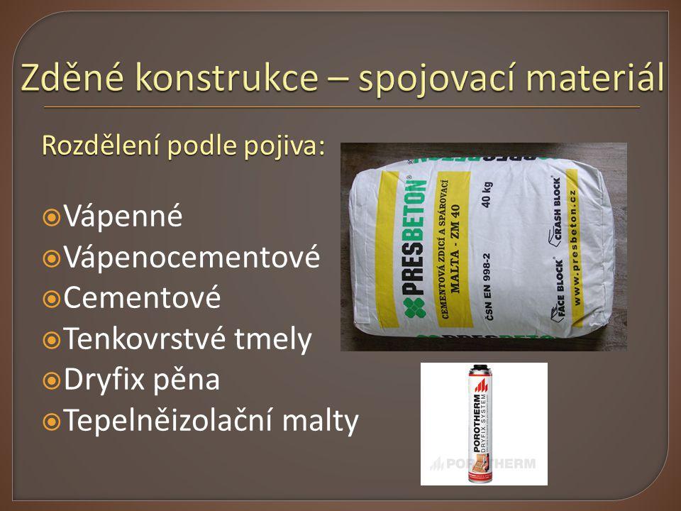 Rozdělení podle pojiva:  Vápenné  Vápenocementové  Cementové  Tenkovrstvé tmely  Dryfix pěna  Tepelněizolační malty