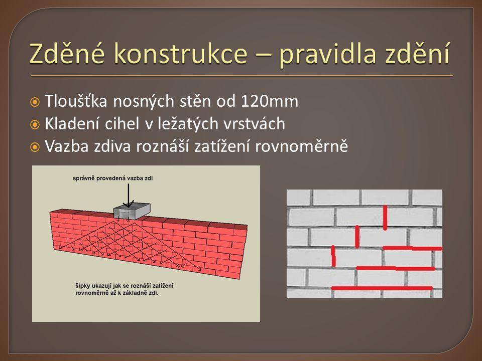  Tloušťka nosných stěn od 120mm  Kladení cihel v ležatých vrstvách  Vazba zdiva roznáší zatížení rovnoměrně