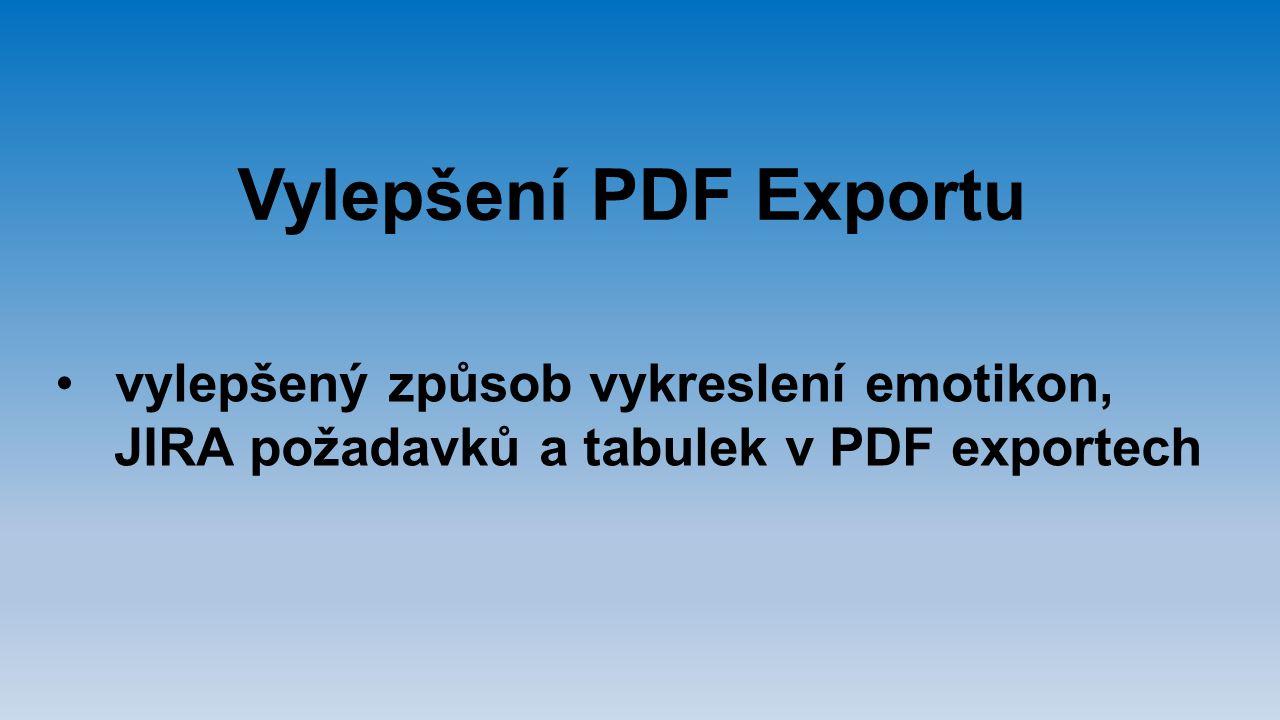 Vylepšení PDF Exportu vylepšený způsob vykreslení emotikon, JIRA požadavků a tabulek v PDF exportech