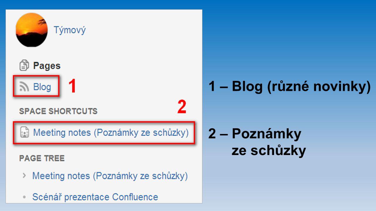 1 – Blog (různé novinky) 2 – Poznámky ze schůzky