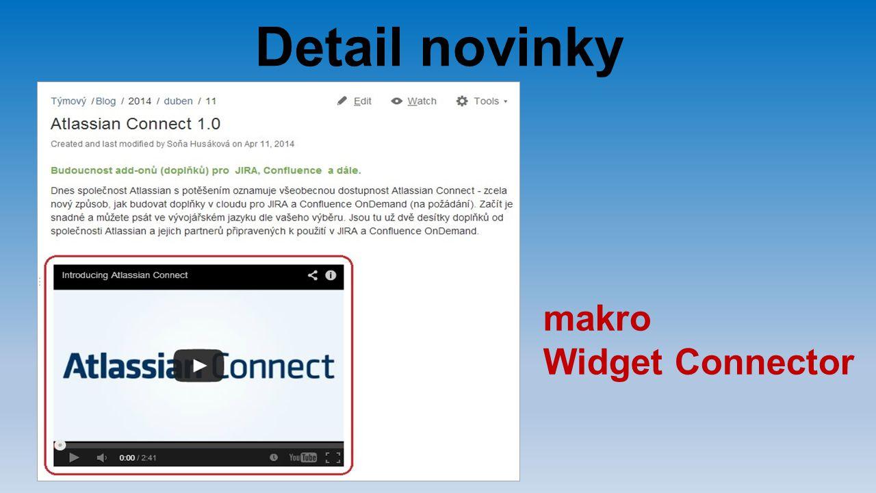 Detail novinky makro Widget Connector