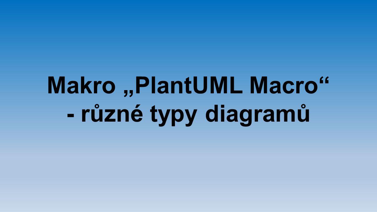 "Makro ""PlantUML Macro"" - různé typy diagramů"