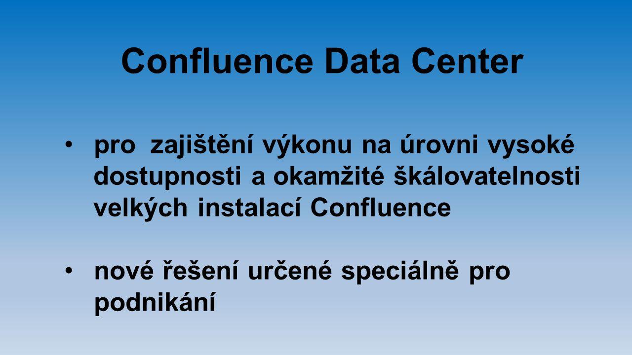 Confluence Data Center pro zajištění výkonu na úrovni vysoké dostupnosti a okamžité škálovatelnosti velkých instalací Confluence nové řešení určené sp