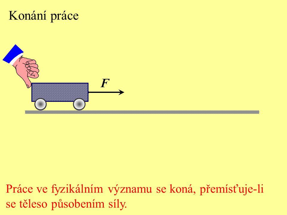 Konání práce Práce ve fyzikálním významu se koná, přemísťuje-li se těleso působením síly.